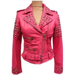 Pink Belted Golden Studded Jacket