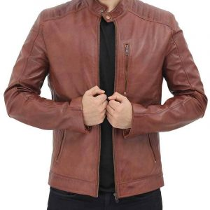 Mens Benjamin Cafe Racer Brown Jacket