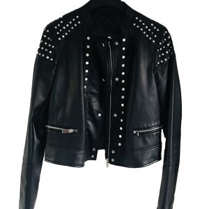 Black Studded Cafe Racer Jacket