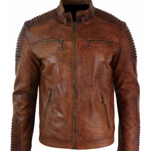 Mens Cafe Racer Brown Jacket