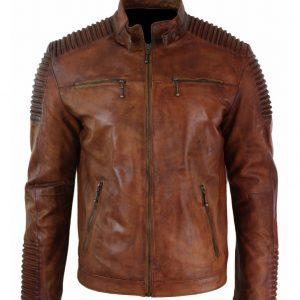 Mens Cafe Racer Brown Jacket