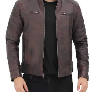 Dodge Mens Brown Leather Racer Jacket