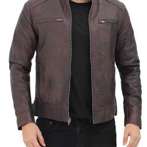 Dodge Mens Brown Leather Racer Jacket