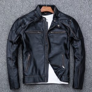 Skull Distressed Black Leather Vintage Biker Jacket