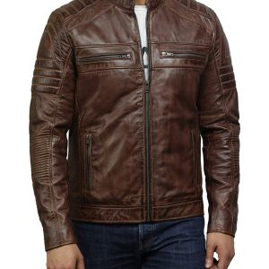 Mens Cafe Racer Brown Distressed Leather Jacket