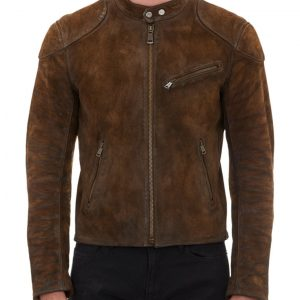 Mens Cafe Racer Brown Suede Jacket