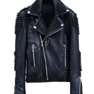 Mens Studded Biker Leather Jacket