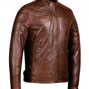 Mens Café Racer Zipper Pockets Distressed Brown Jacket