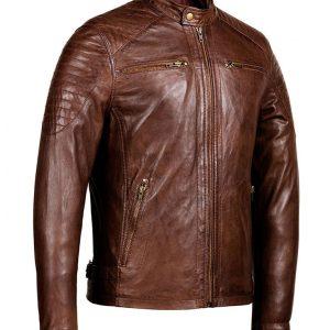 Mens Café Racer Zipper Pockets Distressed Brown Jacket