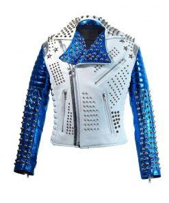 Men's Silver Studded White & Blue Jacket