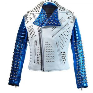 Men's Silver Studded White & Blue Jacket