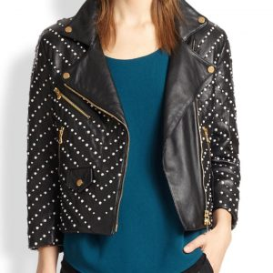 Black Studded Double Zipper Jacket