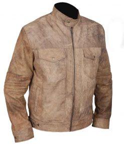 Mens Khakhi Distressed Café Racer Jacket