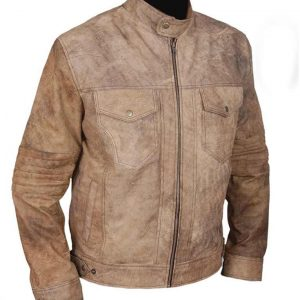 Mens Khakhi Distressed Café Racer Jacket