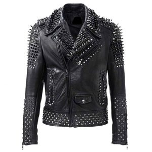 Asymmetrical Silver Spikes Studded Jacket