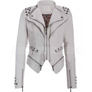 White Studded Punk Leather Jacket