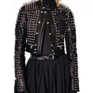 Black Cropped Studded Jacket