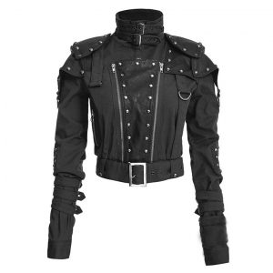 Black Studded Military Cropped Jacket