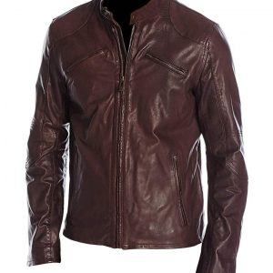 Mens Cafe Racer Maroon Jacket