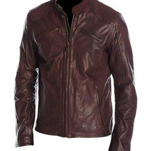 Mens Cafe Racer Maroon Jacket