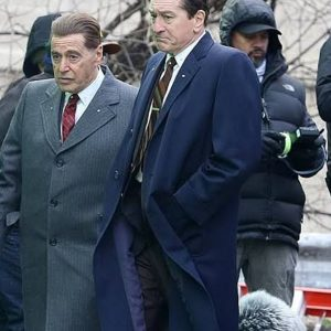 The Irishman Frank Sheeran Blue Cotton Coat