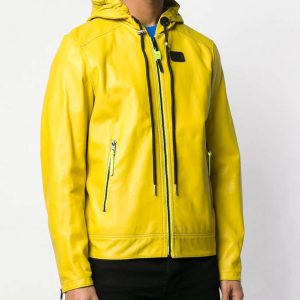 Mens Yellow Hooded Leather Jacket