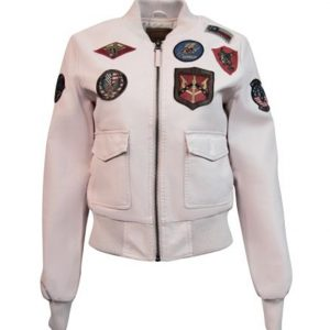 Pink Top Gun Vegan Leather Jacket