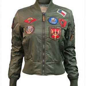 Top Gun Womens MA-1 Olive Bomber Jacket