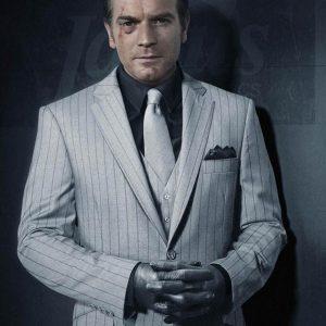 Black Mask White Pinstripe Coat