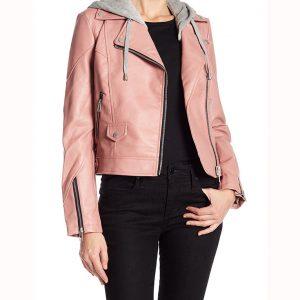 Maria Baez Hooded Leather Jacket