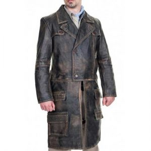Grant Bowler Defiance Joshua Nolan Distressed Brown Leather Coat