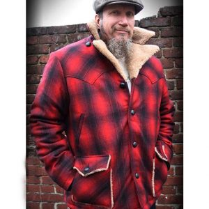 Red Plaid Cameron Jacket With Shearling Collar