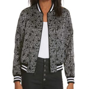 Lily Collins Emily In Paris Bomber Printed Black Jacket