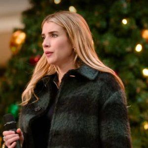 Emma Roberts Holidate 2020 Plaid Coat | Sloane Plaid Coat
